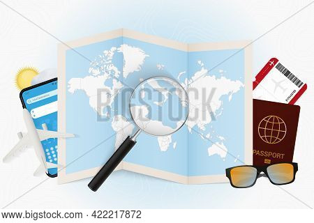 Travel Destination Malta, Tourism Mockup With Travel Equipment And World Map With Magnifying Glass O
