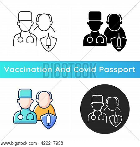 Vaccination Priority List Icon. Senior Patient With Doctor. Age Group For Vaccine Injection. Health