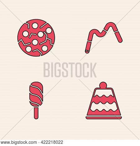 Set Cake, Cookie Or Biscuit, Jelly Worms Candy And Ice Cream Icon. Vector