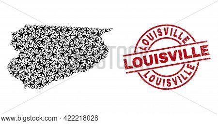Louisville Textured Seal Stamp, And Warmian-masurian Voivodeship Map Mosaic Of Aeroplane Items. Mosa