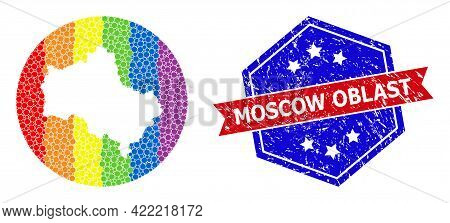 Pixel Rainbow Gradiented Map Of Moscow Region Mosaic Designed With Circle And Hole, And Textured Sea