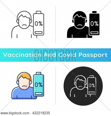 Vaccination Effect Icon. Drowsiness And Fatigue. Mental Burnout. Physical Weakness. Symptom Of Disea