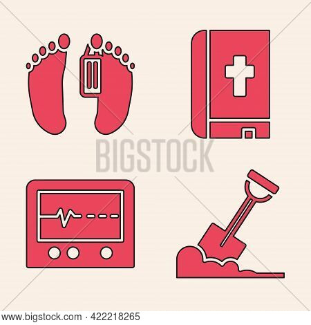 Set Shovel In The Ground, Dead Body, Holy Bible Book And Beat Dead In Monitor Icon. Vector