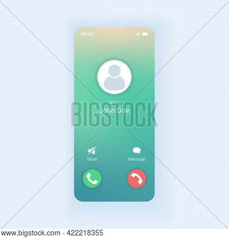 Receiving Phone Call Smartphone Interface Vector Template. Mobile App Page Design Layout. Rejecting,