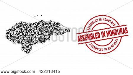 Assembled In Honduras Rubber Stamp, And Honduras Map Mosaic Of Airliner Elements. Collage Honduras M