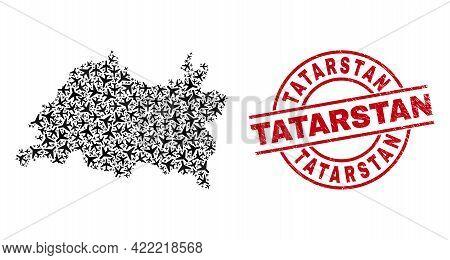 Tatarstan Grunged Seal Stamp, And Tatarstan Map Mosaic Of Jet Vehicle Elements. Mosaic Tatarstan Map