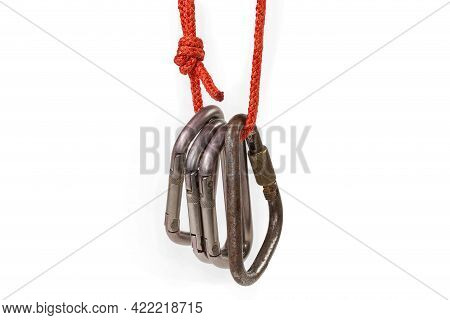 Several Oval Titanium Non-locking Carabiners And Old Steel Locking Triangular Shape Carabiner With