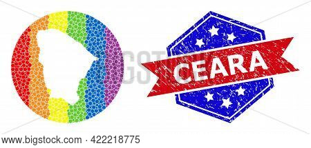 Pixelated Spectrum Map Of Ceara State Mosaic Formed With Circle And Cut Out Shape, And Distress Seal