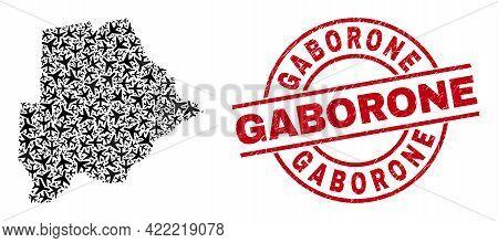 Gaborone Grunge Seal, And Botswana Map Mosaic Of Aeroplane Items. Mosaic Botswana Map Constructed Of