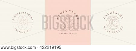 Feminine Logos Emblems Design Templates Set With Magic Female Vector Illustrations Minimal Linear St