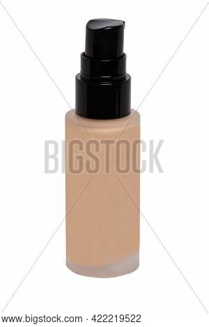 Cosmetic Foundation Isolated. Close-up Of An Closed Glass Bottle With Liquid Skin Foundation Isolate