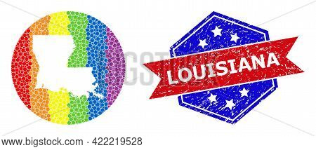 Dot Bright Spectral Map Of Louisiana State Collage Designed With Circle And Hole, And Scratched Stam