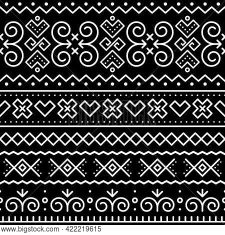 Slovak Tribal Folk Art Vector Seamless Geometric Pattern With Inspired By Traditional Painted Houses
