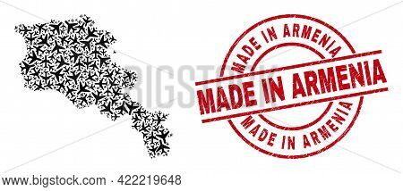 Made In Armenia Distress Seal Stamp, And Armenia Map Collage Of Aviation Elements. Collage Armenia M