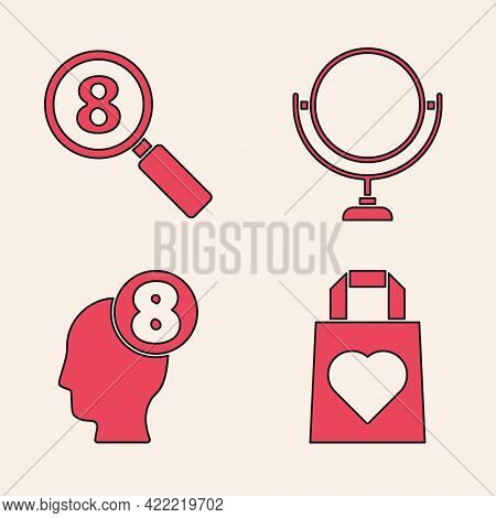 Set Shopping Bag With Heart, Search 8 March, Round Makeup Mirror And 8 March In Human Head Icon. Vec