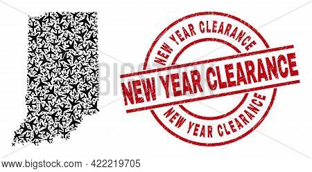 New Year Clearance Distress Seal Stamp, And Indiana State Map Mosaic Of Aircraft Items. Mosaic India