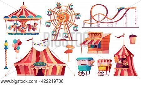 Set Of Amusement Park Icons. Carnival Circus Tent, Ferris Wheel, Rollercoaster, Carousel And Candy C