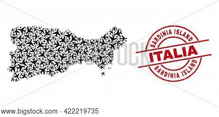 Sardinia Island Italia Rubber Stamp, And Capri Island Map Mosaic Of Airplane Elements. Mosaic Capri
