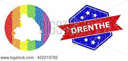 Pixel Bright Spectral Map Of Drenthe Province Collage Created With Circle And Subtracted Shape, And