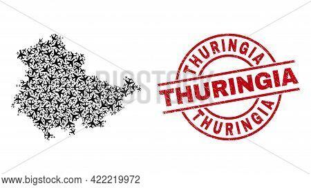 Thuringia Grunge Badge, And Thuringia Land Map Collage Of Airliner Items. Collage Thuringia Land Map