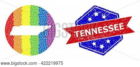 Dotted Rainbow Gradiented Map Of Tennessee State Collage Designed With Circle And Subtracted Shape,