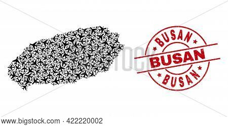 Busan Textured Stamp, And Jeju Island Map Collage Of Air Plane Items. Collage Jeju Island Map Constr