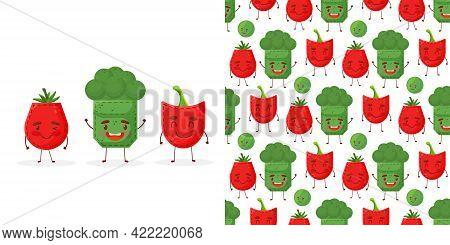 Seamless Pattern Paprika Broccoli Tomato Shaped Patch Pocket. Character Pocket Paprika Broccoli Toma