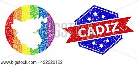 Dot Rainbow Gradiented Map Of Cadiz Province Collage Designed With Circle And Subtracted Space, And