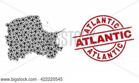 Atlantic Grunge Seal, And Pomeranian Voivodeship Map Mosaic Of Airplane Elements. Mosaic Pomeranian