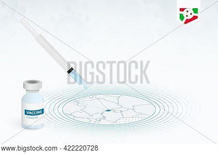 Covid-19 Vaccination In Burundi, Coronavirus Vaccination Illustration With Vaccine Bottle And Syring