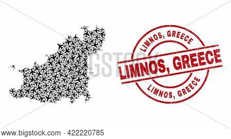 Limnos, Greece Grunge Seal Stamp, And Guernsey Island Map Collage Of Airplane Items. Collage Guernse