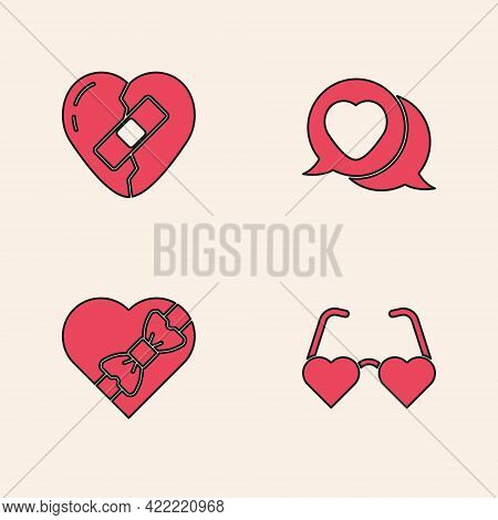 Set Heart Shaped Love Glasses, Healed Broken Heart, In Speech Bubble And Candy Box Icon. Vector