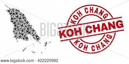 Koh Chang Distress Seal Stamp, And Koh Chang Map Mosaic Of Air Plane Items. Mosaic Koh Chang Map Cre