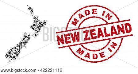 Made In New Zealand Scratched Badge, And New Zealand Map Collage Of Air Force Elements. Collage New