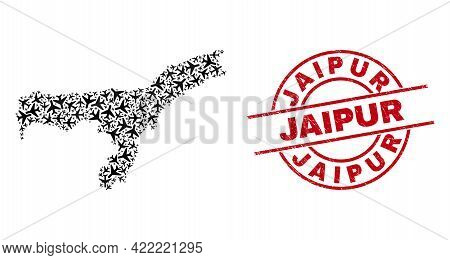 Jaipur Grunge Seal, And Assam State Map Mosaic Of Airplane Items. Collage Assam State Map Created Of