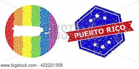 Pixel Bright Spectral Map Of Puerto Rico Collage Designed With Circle And Hole, And Textured Seal St