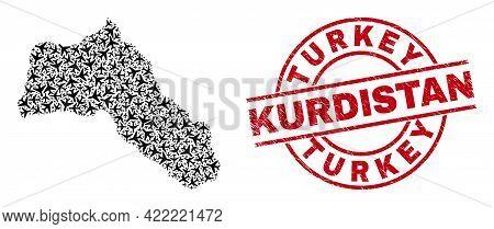 Turkey Kurdistan Distress Stamp, And Kurdistan Map Mosaic Of Air Plane Items. Mosaic Kurdistan Map D