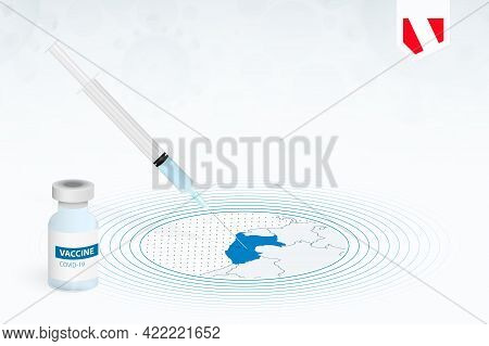 Covid-19 Vaccination In Peru, Coronavirus Vaccination Illustration With Vaccine Bottle And Syringe I