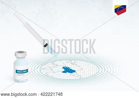 Covid-19 Vaccination In Venezuela, Coronavirus Vaccination Illustration With Vaccine Bottle And Syri