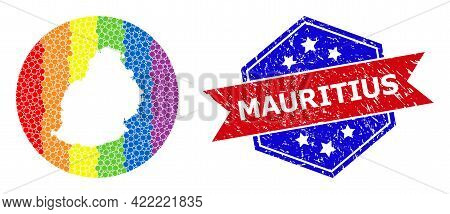 Pixelated Bright Spectral Map Of Mauritius Island Collage Created With Circle And Subtracted Shape,