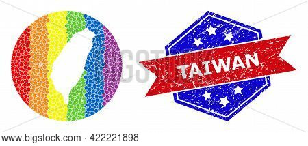 Pixelated Bright Spectral Map Of Taiwan Mosaic Designed With Circle And Carved Shape, And Grunge Sea