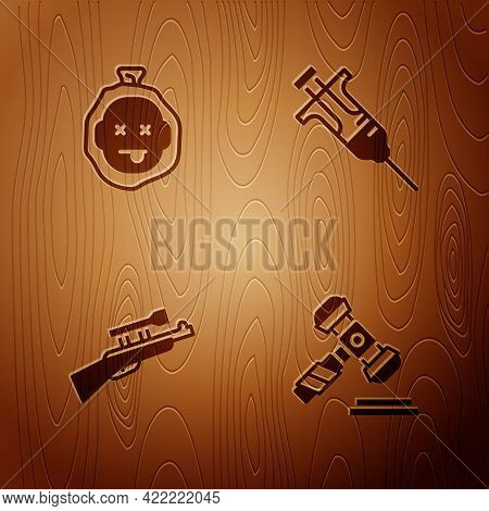 Set Judge Gavel, Murder, Sniper Rifle With Scope And Syringe On Wooden Background. Vector