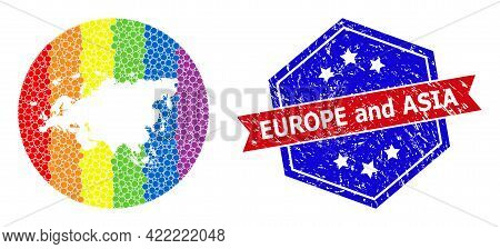 Pixel Rainbow Gradiented Map Of Europe And Asia Collage Formed With Circle And Stencil, And Distress