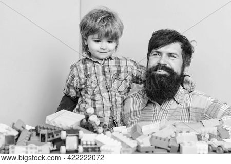 Having Fun Together. Building Home With Logical Constructor. Child Development. Small Boy With Dad P