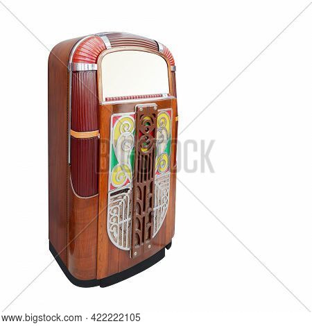 Antique Wooden Retro Jukebox On White Background, Vintage, Retro, Object, Music, Copy Space