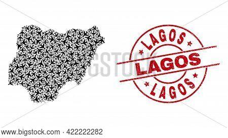 Lagos Grunge Stamp, And Nigeria Map Mosaic Of Aeroplane Items. Collage Nigeria Map Designed With Avi