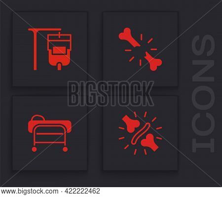 Set Joint Pain, Knee Pain, Iv Bag, Human Broken Bone And Stretcher Icon. Vector