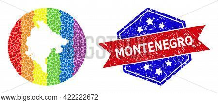 Dot Bright Spectral Map Of Montenegro Collage Designed With Circle And Cut Out Shape, And Grunge Sta