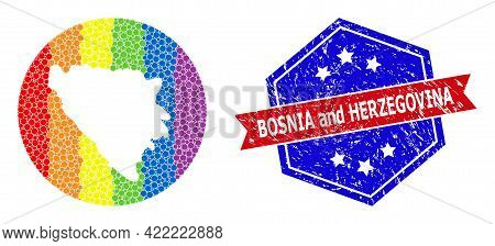 Pixelated Spectrum Map Of Bosnia And Herzegovina Collage Formed With Circle And Stencil, And Scratch