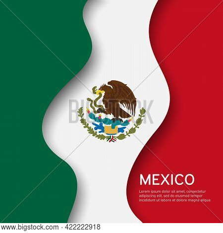 Abstract Waving Mexico Flag. Creative Background For Mexico Holidays Postcard Design. Business Bookl